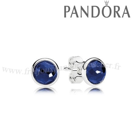 Pandora Promotion Pandora Boucles D'Oreilles September Droplets Stud Boucles D'Oreilles Synthetic Sapphire En Ligne